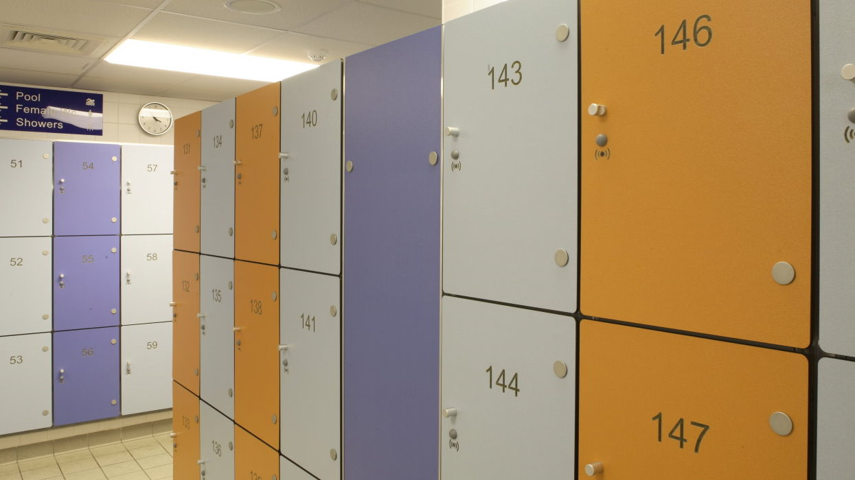 View of coloured lockers