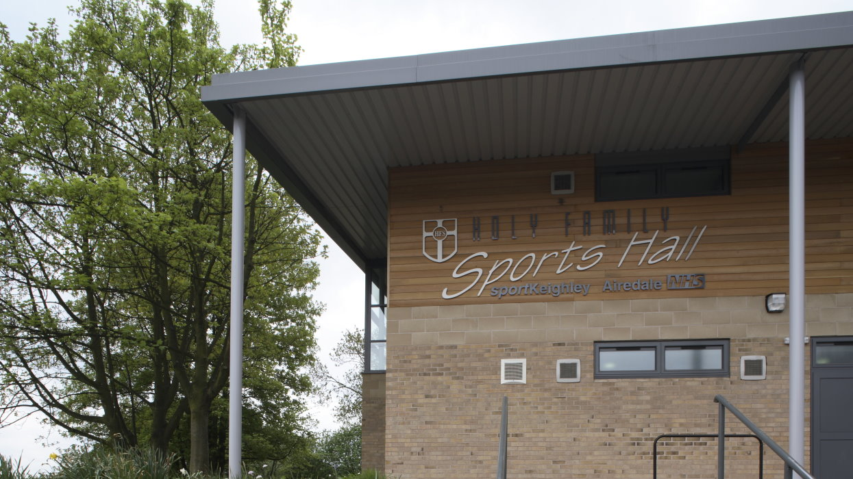 holy family sports hall signage