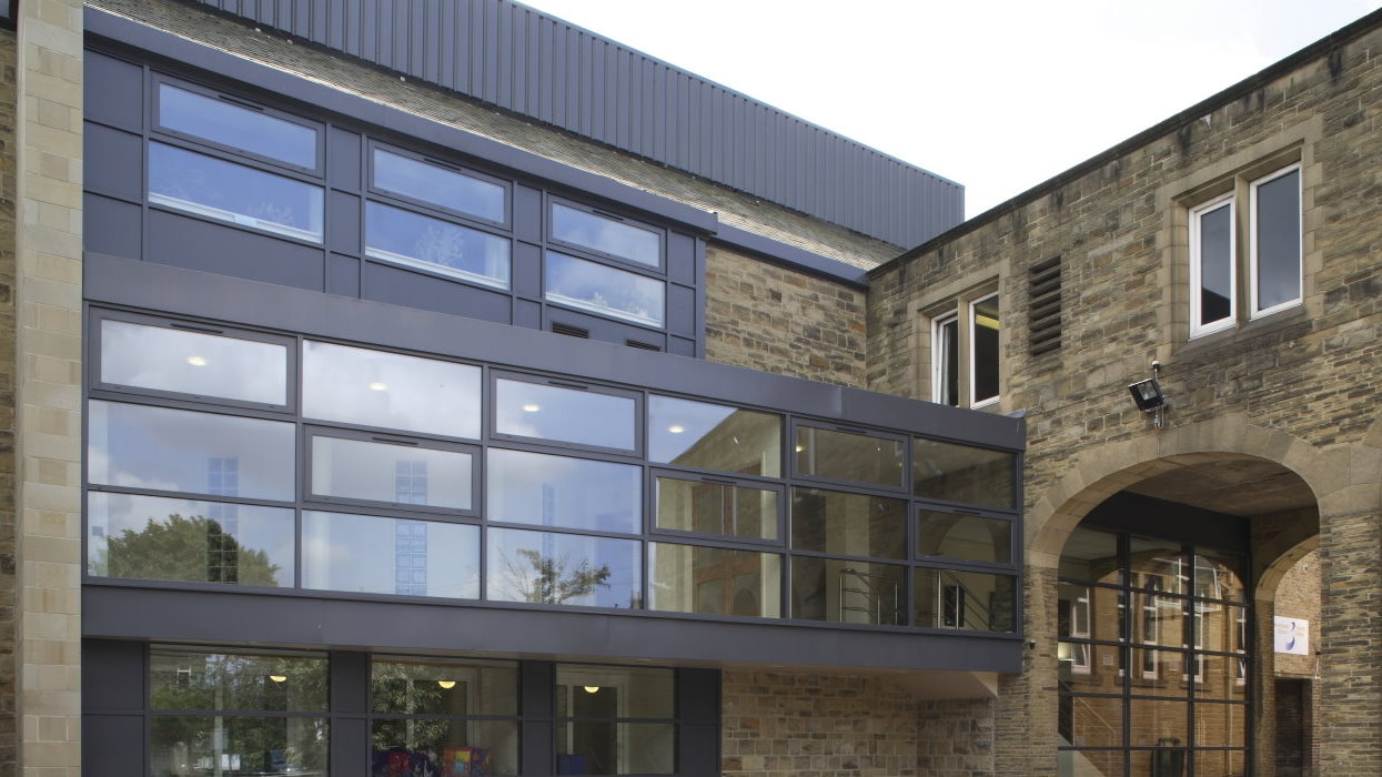 View of new extension with old building aswell