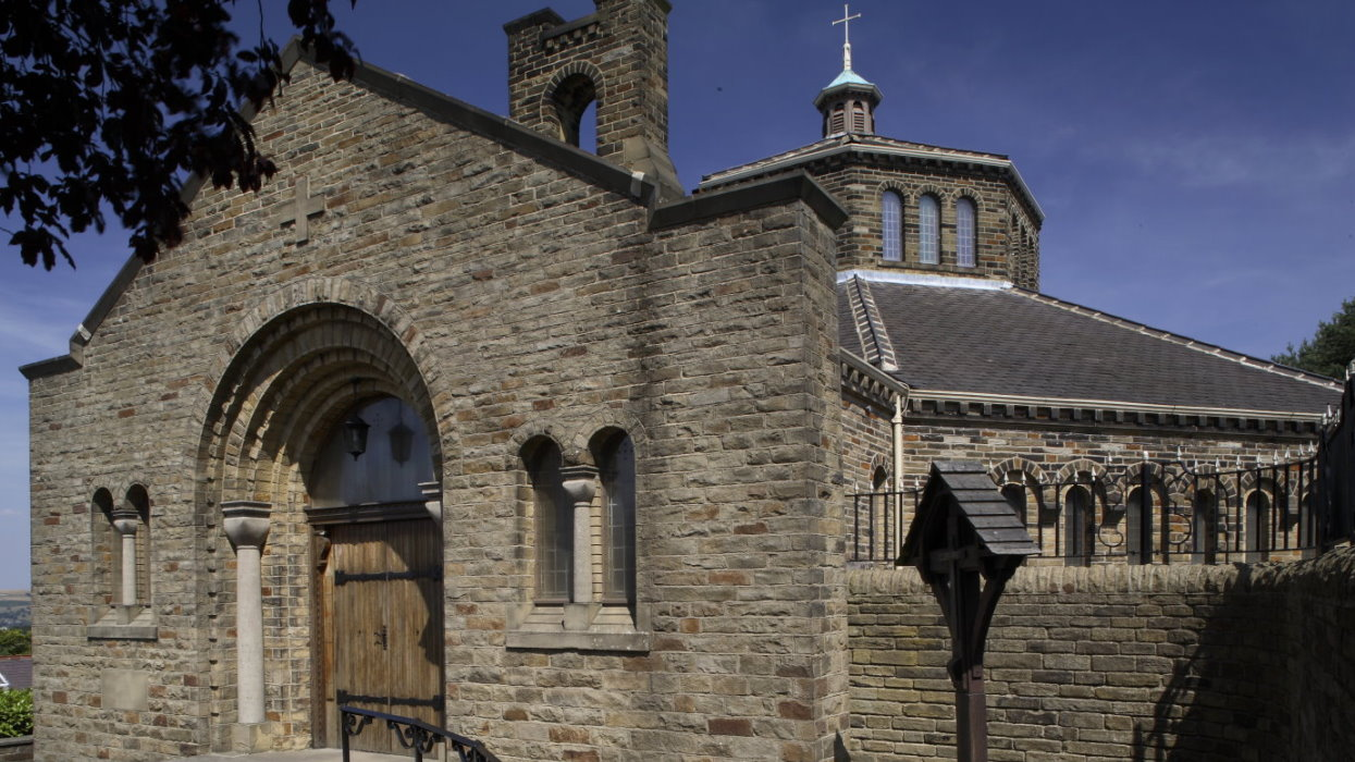 View looking at the entrance of the church