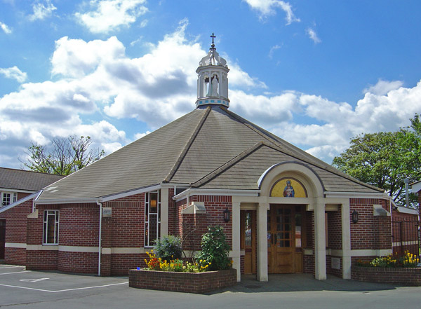The church from the front showing the main entrance
