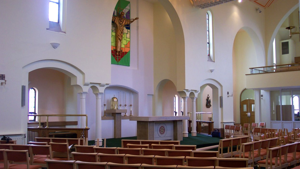 View of the altar with pews
