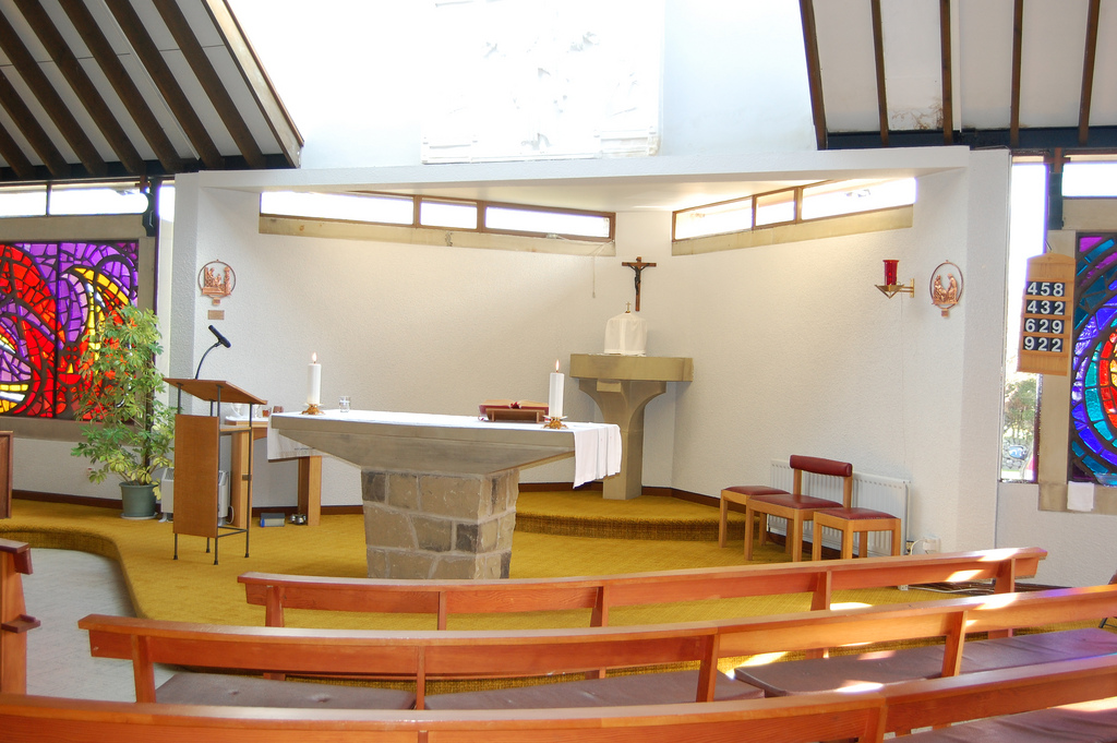 View of the altar with pews infront