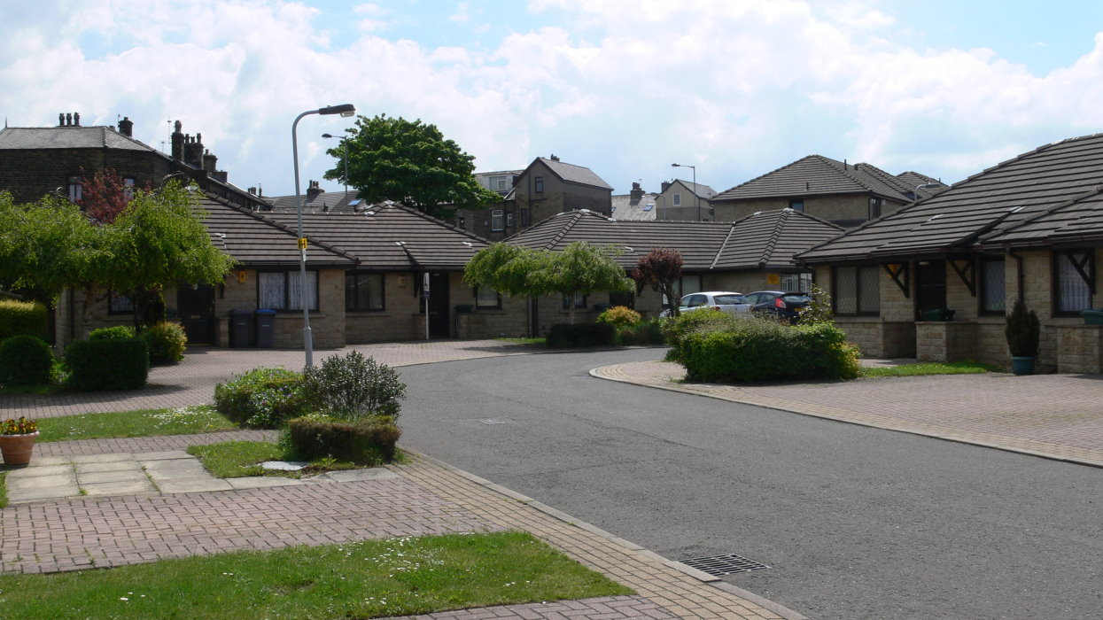 View of houses with road