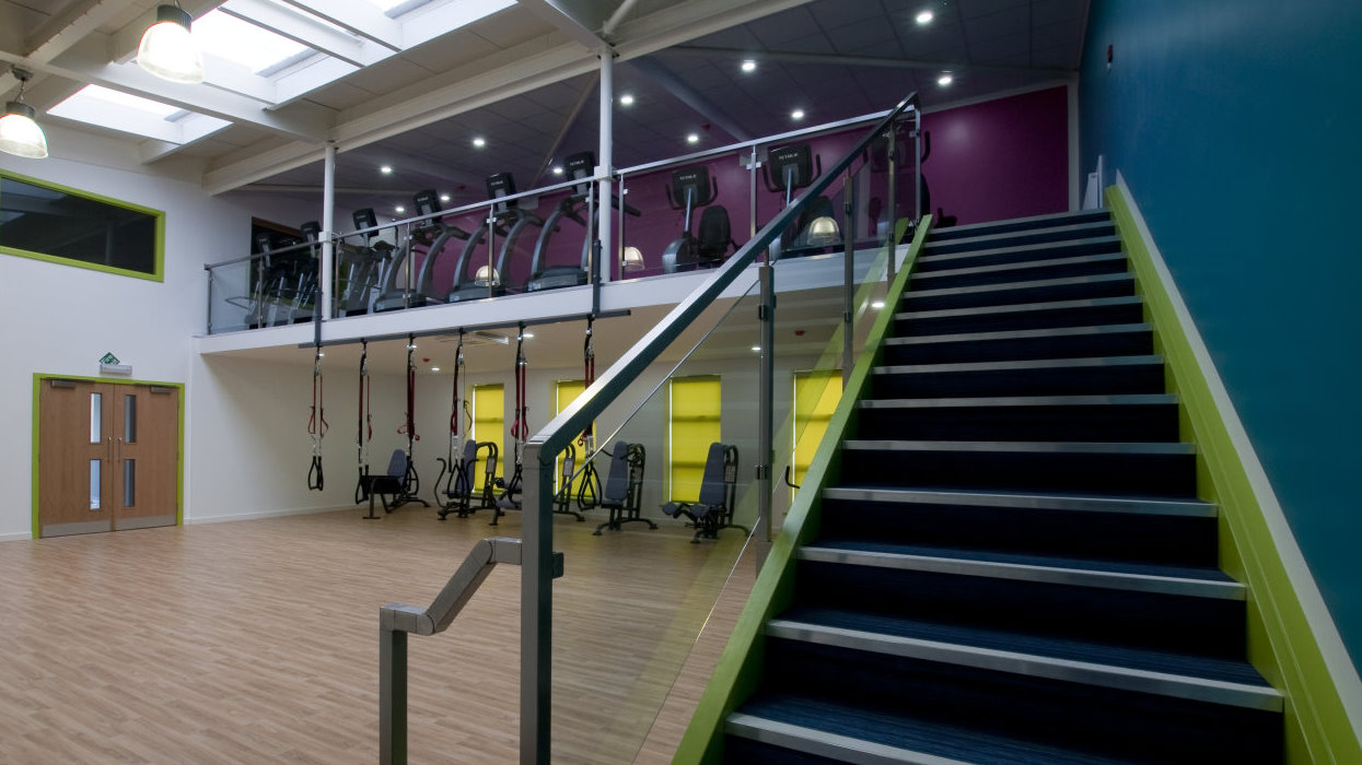 View up stairs and across sports hall